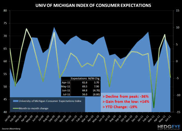 CONSUMER CONFIDENCE FALLS IN JULY - umich expectations july