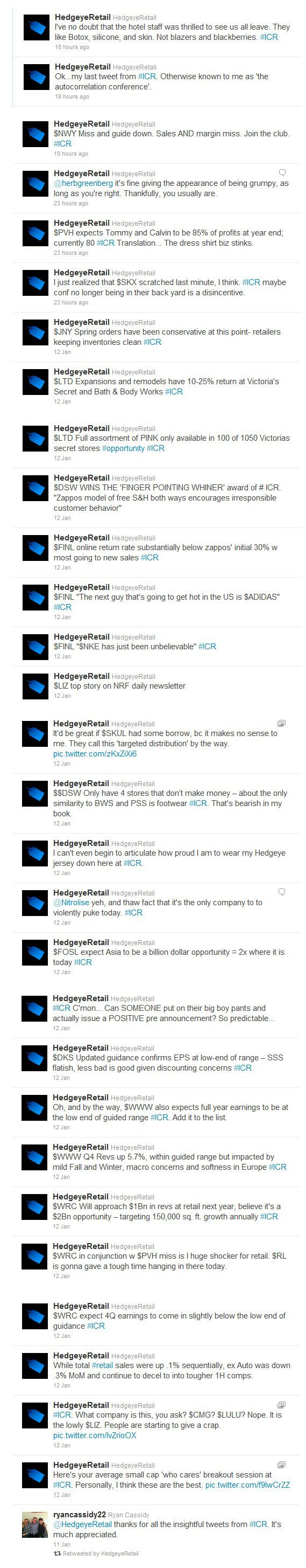 @HedgeyeRetail #ICR (Updated) - TWEET image 1