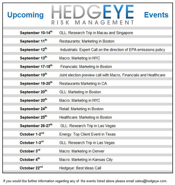 Upcoming Hedgeye Events - events
