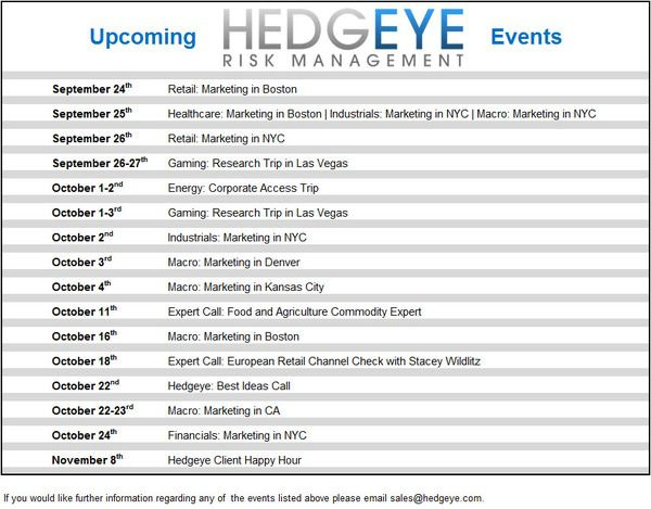 UPCOMING HEDGEYE EVENTS  - upcoming
