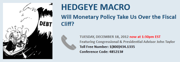 NEW TIME: U.S. Monetary Policy & Fiscal Cliff Expert Call with John Taylor - taylorcallNEW