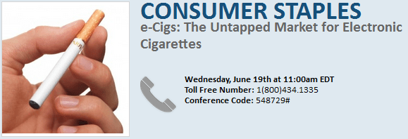 CONFERENCE CALL e-Cigs: The Untapped Market for Electronic Cigarettes - ecigsDialInFInal 06.19.13