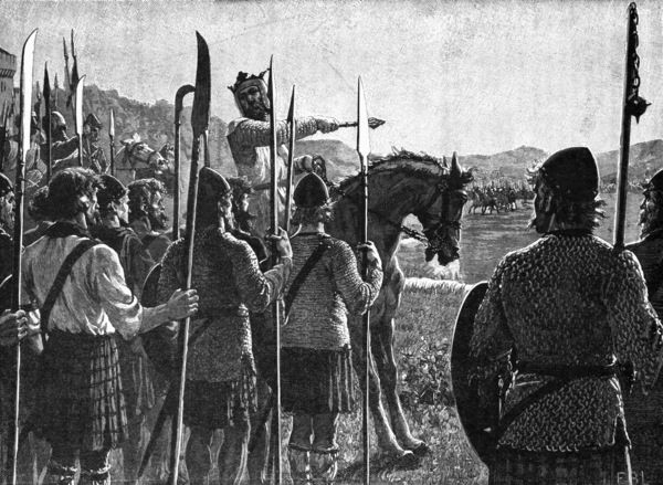 Becoming King - Battle of Bannockburn   Bruce addresses troops
