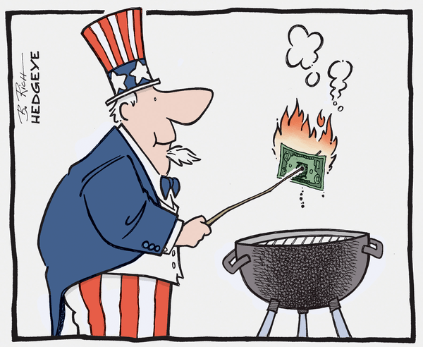 Cartoon of the Day: Grilling the US Dollar - Dollar on the grill 5.23.2014