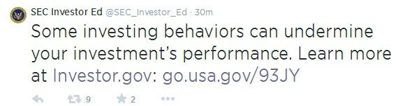9 Behaviors That Can Undermine Investment Performance - sec tweet