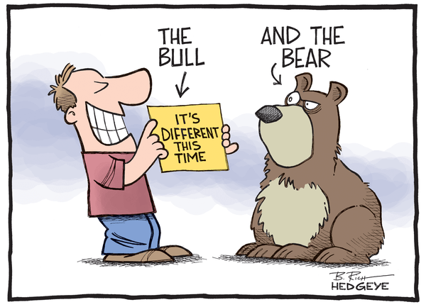 Cartoon of the Day: It's Different This Time - Bull and bear cartoon 7.08.2014