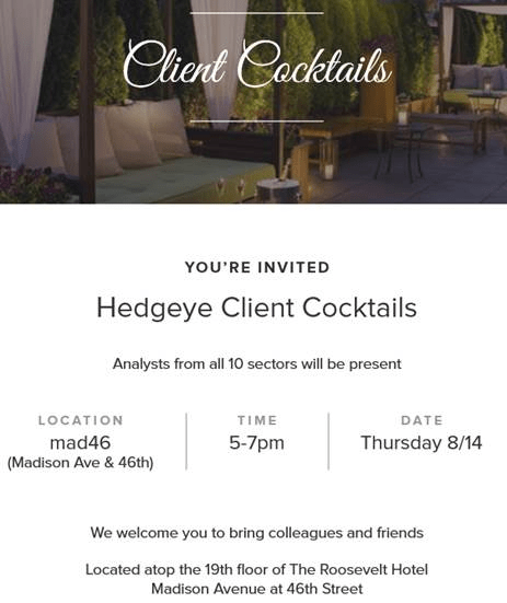 COCKTAIL EVENT: New York  - Hedgeye Client Cocktails