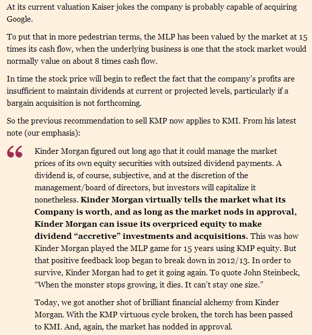 Hedgeye In the News: Kinder Morgan, MLPs and the Sell Case - kaiser