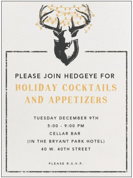 Please Join Hedgeye for Holiday Cocktails & Appetizers - 1