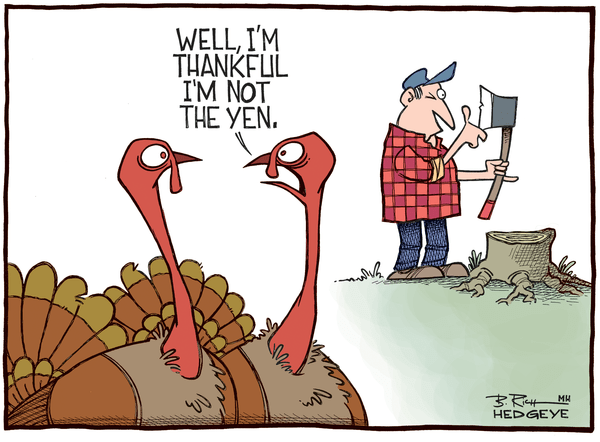 Cartoon of the Day: Gobble, Gobble! - Yen turkey cartoon 11.27.2014