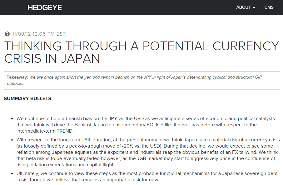 Call Today | Abenomics Round II: Risk Is GROSSLY Mispriced - Thinking Through a Potential Currency Crisis In Japan