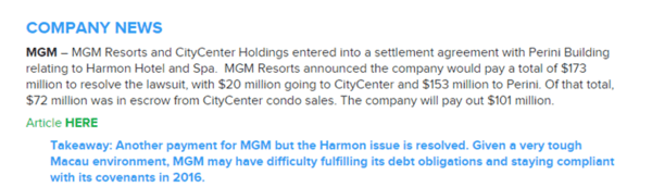 CORRECTION TO 12/17/14 LEISURE LETTER – MGM - mgm