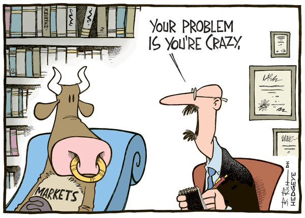 The Outlook For Buy-And-Hold Returns Over The Next Decade Is Terrible - Crazy bull cartoon 08.19.2014