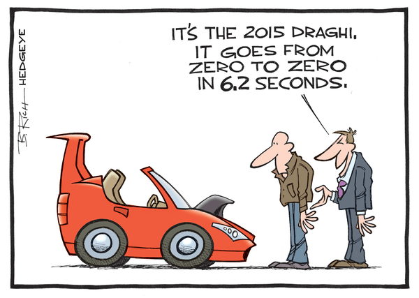 11 of the Best Cartoons Lampooning Mario Draghi and the ECB You'll Ever See - Draghi car cartoon 03.06.2015