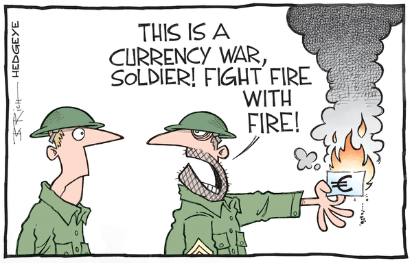Cartoon of the Day: Currency War Chronicles (Fighting Fire With Fire) - burning euro cartoon 05.01.2015