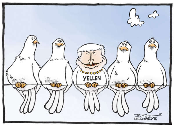 Our 9 Favorite #Fed Cartoons From (The Man, The Myth, The Legend) Hedgeye Cartoonist Bob Rich - Yellen dove 09.17.2014