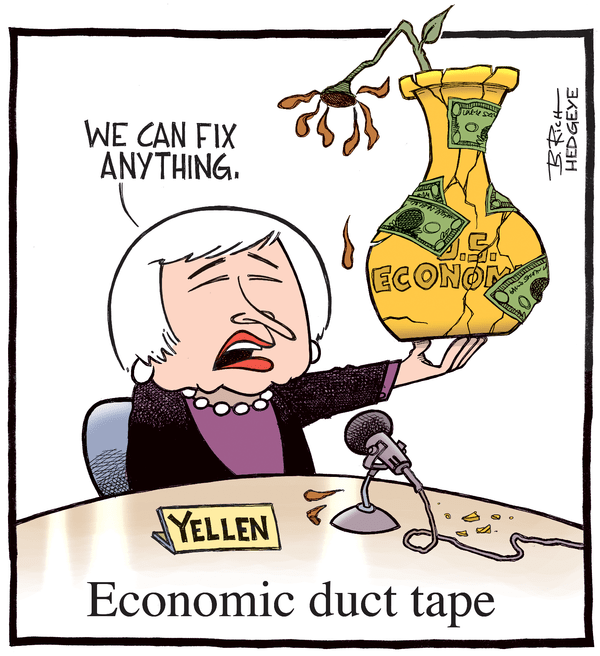 Our 9 Favorite #Fed Cartoons From (The Man, The Myth, The Legend) Hedgeye Cartoonist Bob Rich - Yellen duct tape 7.16.2014