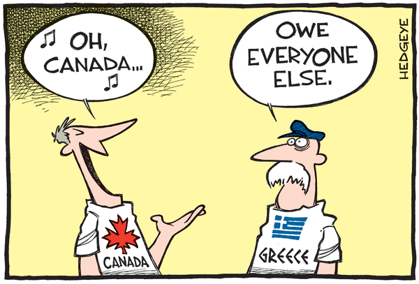 Cartoon of the Day: True North vs Truly Indebted - Canada Day cartoon 07.01.2015