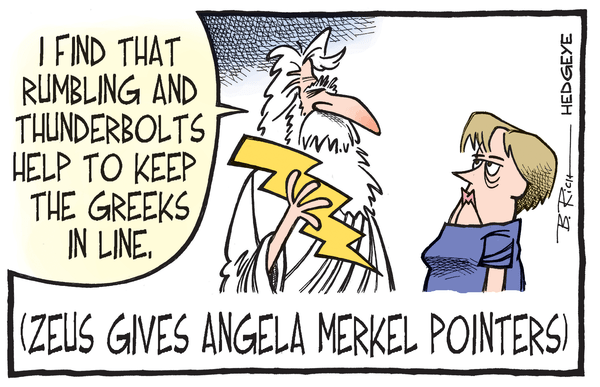 Cartoon of the Day: Tips From Zeus - Greek debt cartoon 07.13.2015