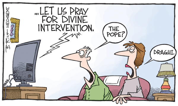Cartoon of the Day: Divine Intervention - Draghi Pope cartoon 09.23.2015
