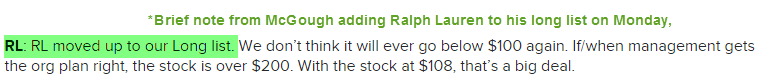 Big Win For Ralph Lauren Shareholders (And Hedgeye's McGough Who Added $RL to His Long List Monday) - zz 44 rl