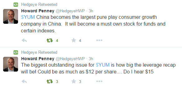 FLASHBACK: Hedgeye's Howard Penney Nails It On Yum! Brands, China | $YUM - 10 20 2015 yum 1