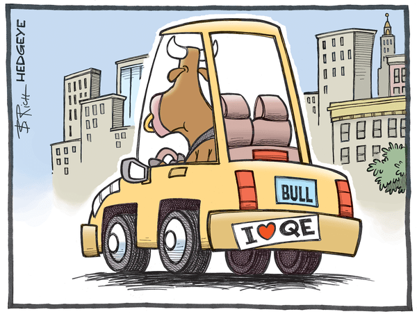 Cartoon of the Day: Bull In a Car - QE cartoon 10.20.2015