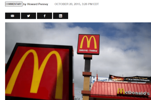 Why McDonald's Stock Will Never Trade Below $100 Again - 10 21 2015 Fortune Howard