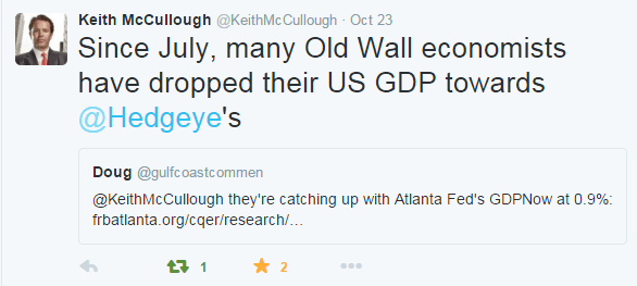 Wall Street Consensus Is Still Too High on Q3 GDP - 10 26 2015 keith twitter economists