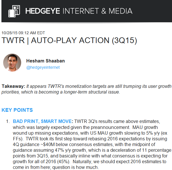 Hedgeye Was Short (And Remains Short) Twitter | $TWTR - 10 28 2015 twitter note