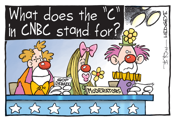 The CNBC Circus Act - GOP debate cartoon 10.29.2015