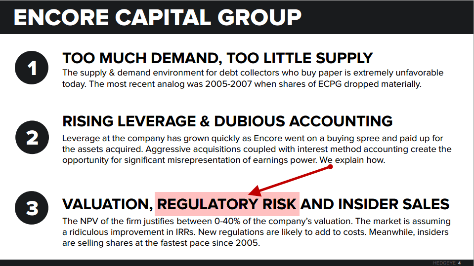 Encore! Another World Class Short Call Brought to You By Hedgeye | $ECPG - 11 3 2015 encore