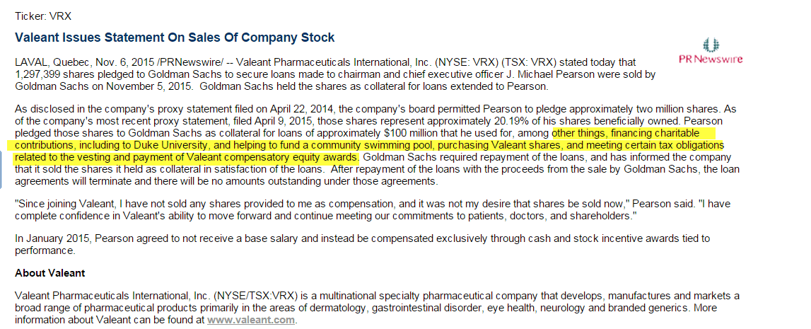 VRX | MORE QUESTIONS... - Valeant Issues Statement