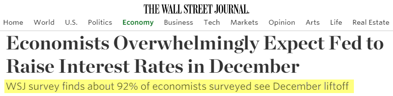 BREAKING: Wall Street Consenseless Has No Clue About Fed Rate Hike - wsj econ survey