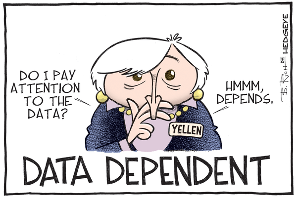"Huh? Atlanta Fed Head Calls Rate Hike ""Compelling"" But Slashes GDP Forecast? - Yellen data dependent cartoon 11.18.2015"