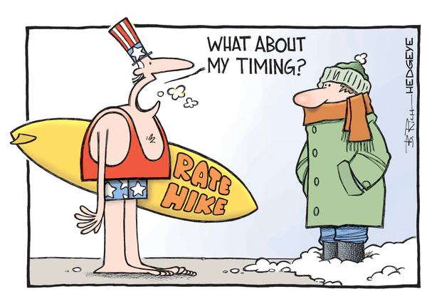 Cartoon of the Day: Surf's Up! - rate hike cartoon 12.16.2015