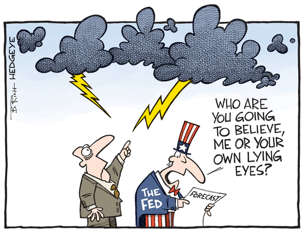 The Atlanta Fed's New Bullish Narrative? Cutting Its Own GDP Estimate - Fed forecast cartoon 11.13.2015
