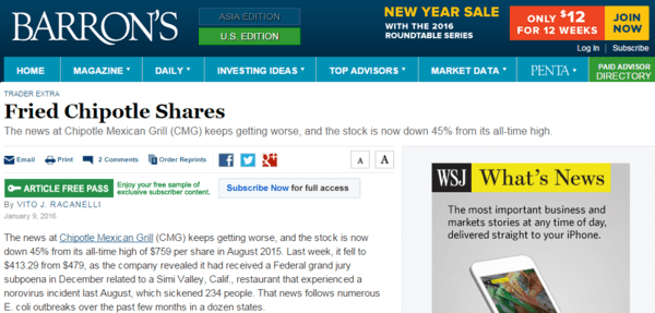 IN THE NEWS: Barron's On Hedgeye Restaurants Analyst Howard Penney's Short Chipotle Call | $CMG - chipotle barron s