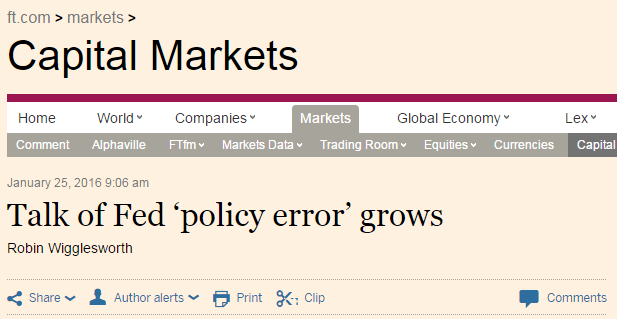 Nice! Old Wall Has Second Thoughts About Fed's December Rate Hike - ft policy error