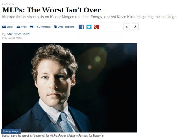 "IN THE NEWS: Hedgeye Energy Analyst Kevin Kaiser In Barron's ""Worst Isn't Over For MLPs"" - kaiser hedgeye image"