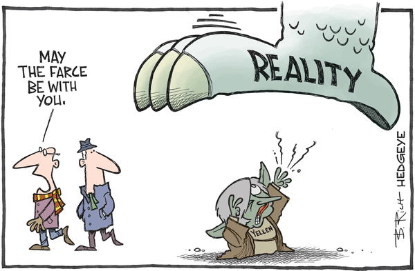 "Central Planners Try To ""Soothe Markets."" What Happens When No One Believes Them Anymore? - Yellen Yoda cartoon 12.01.2015"
