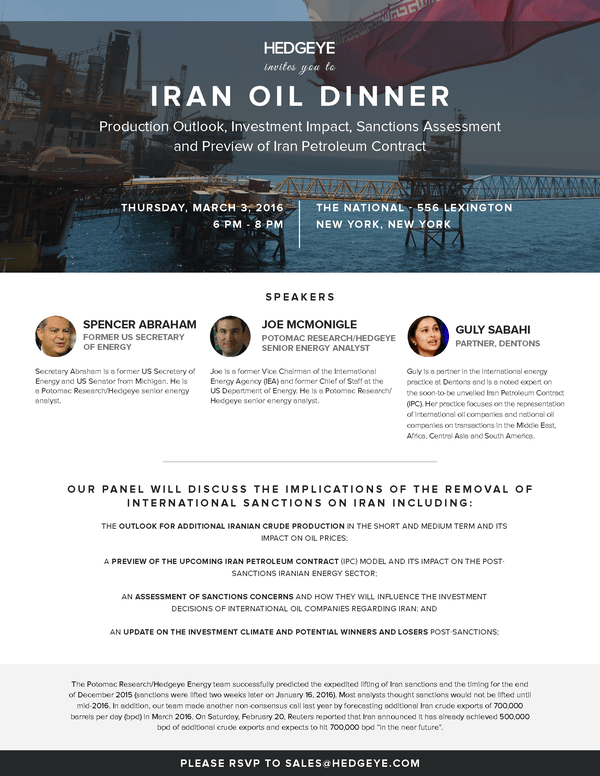 Hedgeye Invites You to Iran Oil Dinner (3/3/16 at 6PM ET)  - HE Oil Dinner
