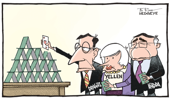 Central Planners' Futile Fight Against Economic Gravity - Card house cartoon 12.03.2014