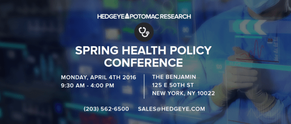 INVITATION AND AGENDA TO HEDGEYE-POTOMAC SPRING HEALTH POLICY CONFERENCE - 20160321 Header