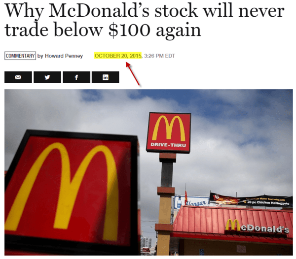 FLASHBACK: Howard Penney Says Buy McDonald's - z how