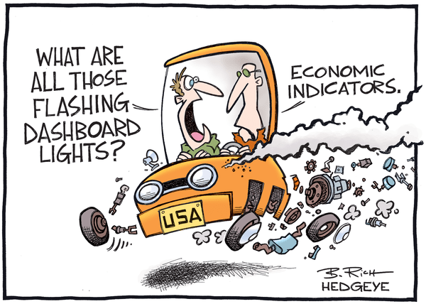 "US Economy: WSJ Says ""All Clear"" ... Nope - economic indicators cartoon 02.24.2016"