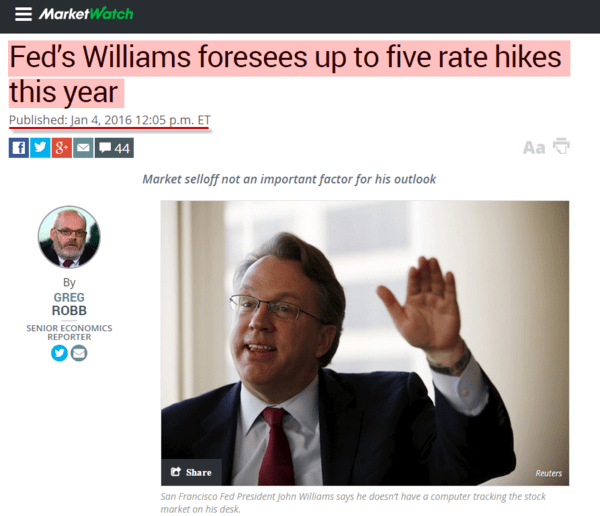 Remember When SF Fed's John Williams Forecasted Up To 5 Rate Hikes In 2016? We Do. - marketwatch story