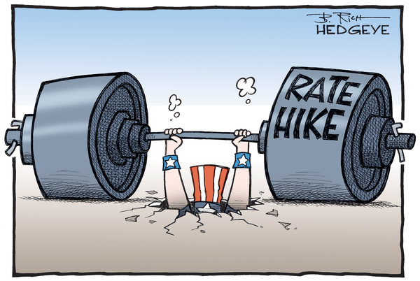 This Week In Hedgeye Cartoons - Rate hike dumbells cartoon 07.07.2016