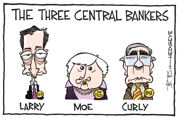 Hubris - Three central bankers cartoon 07.06.2016