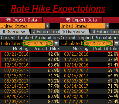 Dear Janet – Stop Ignoring Economic Reality - rate hike expectations 8 29